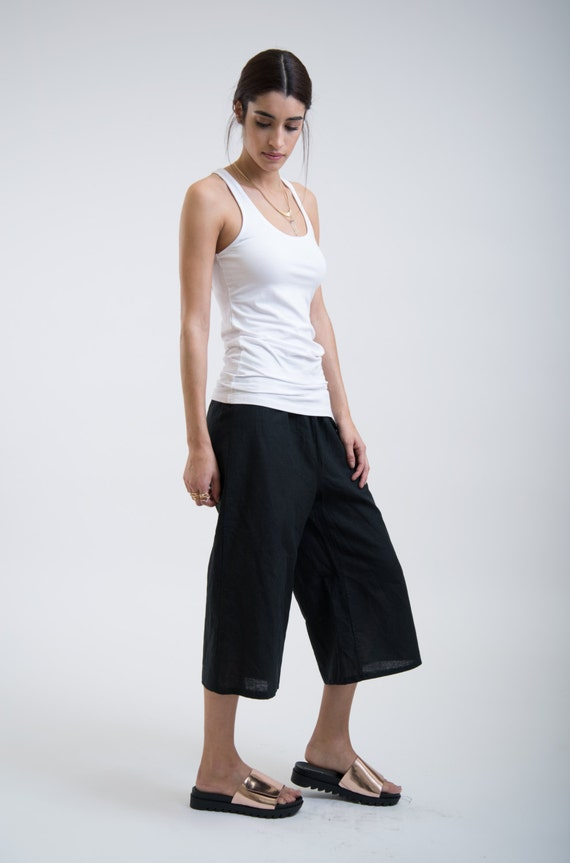 Black Culottes / Wide Linen Capri Pants / Oversized Pants /