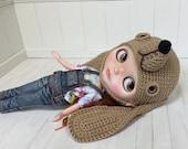 Hat Dog Dachshund for Blythe Crochet Brown Glass Eyes