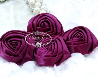 Sierra: 4pcs DEEP FUCHSIA / Plum - 50mm Adorable Rolled Satin Silk Rose Bud Rosettes Fabric flowers. Hair Accessories. Fascinator.