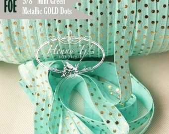 "MINT Green with Metallic Gold Foil : Polka DOTS Fold Over Elastic Printed foe - 5/8"" foe 2, 5, 10 Yards. DIY Headband Supplies"