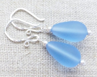 Periwinkle Blue Seaglass Earrings, Matte Frosted Teardrops, Sterling Silver Sea Glass Earrings, Summer Fashion, Gift For Her, Beach Jewelry