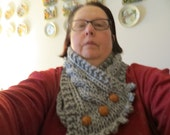 Hand Knit Grey Cable Cowl/Scarf
