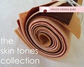 9x12 Wool Felt Sheets - The Skin Tones Collection - 8 Sheets of Felt