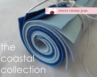 9x12 Wool Felt Sheets - The Coastal Collection - 8 Sheets of Blue Felt