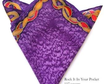 Stylish Men's Pocket Squares Painted on Silk