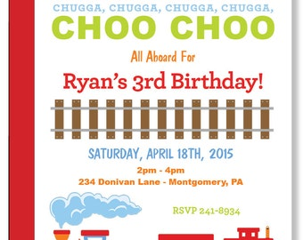 Custom Choo Choo Train Birthday Party Invitations