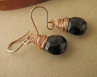 Spinel Rose Gold Filled Earrings, Spinel Wrapped Earrings