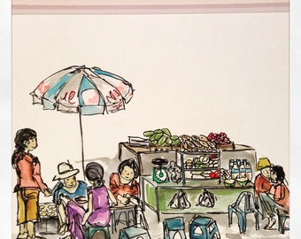 Hoi An, Vietnam. Print. Watercolour Illustration. Breakfast on the street.