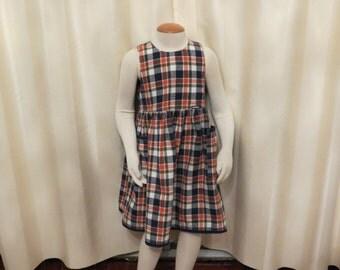 Vintage Orange White and Navy Checkered Girls' Osh Kosh Dress Tunic Designed in Australia