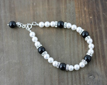 Classic Black and White Swarovski Pearl Bracelet with Sterling Silver Findings