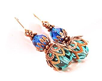 Bollywood Inspired Antiqued Brass Earrings, Dark Blue and Teal, Lever Back Earrings