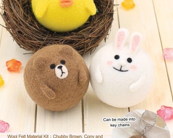 Needle Felting DIY Wool Felt Kit Chubby LINE Brown Cony and Sally Key Chain : English Material Kit