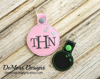 Bowling Bag Tag Key Chain, Personalized Monogrammed, Custom Made, Vinyl, with Snap