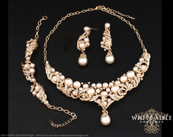 Gold Bridal Jewelry Set, Ivory Pearl Bridal Statement Necklace, Back Drop Necklace, Wedding Bracelet, Vintage Inspired Wedding Jewelry Set