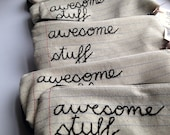 Wholesale - 5 Zipper Pouch Pencil Cases - Awesome Stuff - Notebook Paper Fabric - Great for Resale - Hand Embroidered