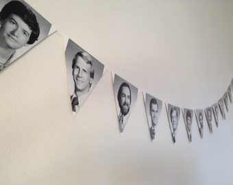 Paper Banner Decoration - 1978 Jefferson Medical Clinic Yearbook Photos - Triangle Bunting Garland - Super Fun Retro Decoration