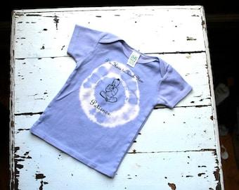 12-18m Toddler Organic Patience Buddha T Shirt - Lavender Purple, short sleeve tie-dye kids shirt