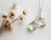 Green Amethyst 'Aqua Vitae' Necklace - Sterling Silver Wire Wrapped Gemstones - mint sparkle AAA