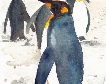 "Penguins - an original watercolor ACEO 2 1/2"" x 3 1/2"""