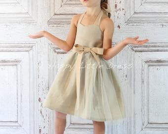 Flower Girl Dress. Linen Rustic Flower Girl Dress.