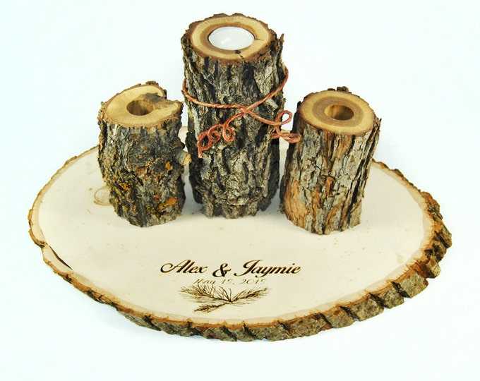 Unity Candle Set with pine needles and personalized engraving and charm