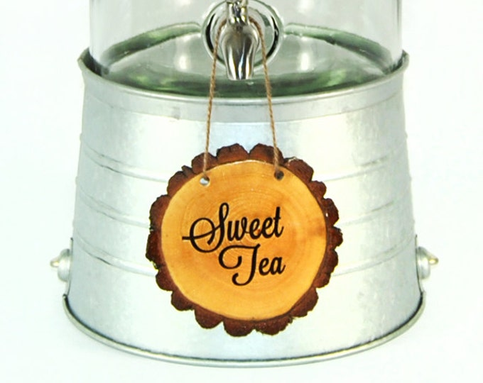 Personalized Tree slice Beverage dispenser signs