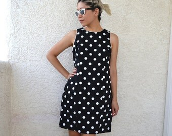 Vintage Black White Polka Dot Dress M L Rockabilly Summer Wiggle Medium Large