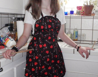 Hostess Apron, Vintage-style, black with red hearts