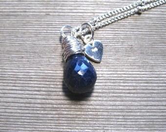 Childs Sapphire Necklace, Little Girl Jewelry, September Birthstone, Sterling Silver, Girls Birthstone Pendant, Genuine Gemstone