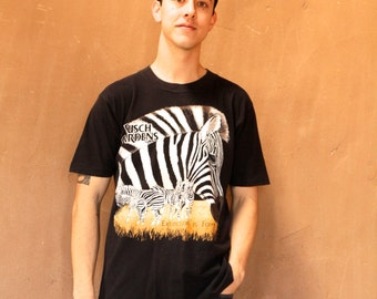 mid 90s vintage ZEBRA black and white WILD animal shirt
