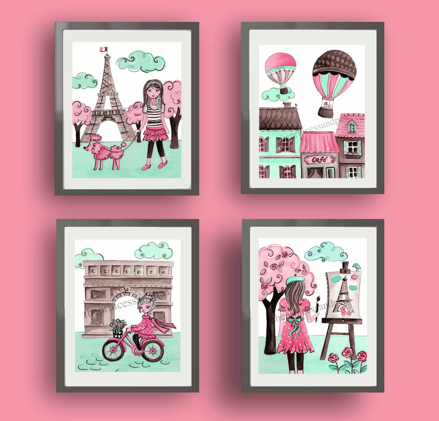 Parisian Baby Nursery Design Pictures Remodel Decor And: Paris Art Paris Decor Baby Nursery Art Decor Pink Mint