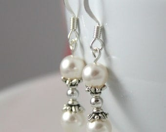 White Pearl Bridal Earrings with Sterling Silver, Bridesmaid Earrings, Wedding Jewelry, White Pearl Earrings, Pearl and Silver Earrings