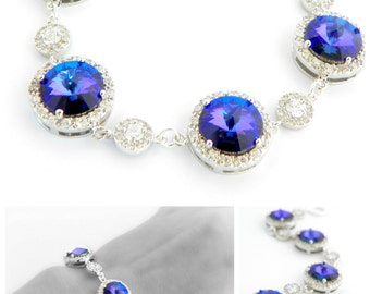 Peacock Theme Wedding Jewelry for Brides, Purple Bracelet, Bridal Satement Bracelet, Cubic Zirconia Bracelet Swarovski Crystal Bracelet Plum