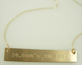 Coordinates Bar Necklace - Bar Necklace - Hand Stamped Bar Necklace