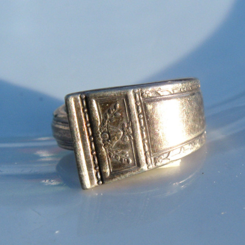 antique silver spoon handle ring by ermajewelsvintage on etsy
