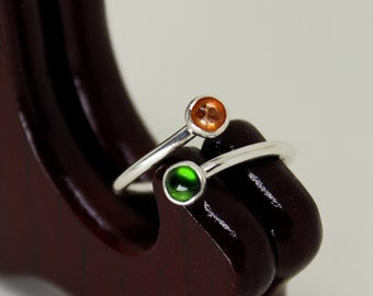 Sunstone & Chrome Diopside Ring // Sterling Silver // Duality // Open Ended  // Stacker Ring // Stacking Ring // Gemstone Ring