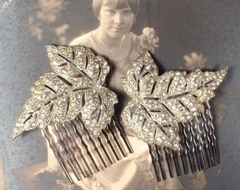 1920s Hair Comb PAIR, Art Deco Rhinestone Silver Leaf Antique Bridal Head Piece, Vintage Dress Clip Haircombs Flapper Jewelry Downton Abbey