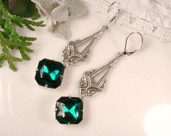 Emerald Green Art Nouveau Dangle Earrings, Art Deco Rhinestone Antique Silver Drop Statement Earrings, 1920s Gatsby Flapper Long Bridesmaid