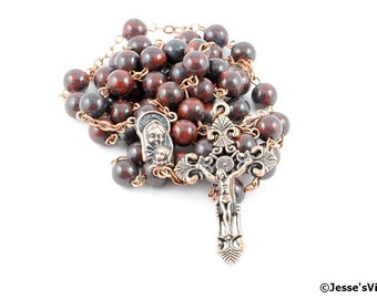Catholic Rosary Beads Rustic Red Brown Brecciated Jasper Natural Stone Traditional Copper Five Decade Catholic Gift