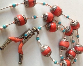 Long Branch Coral Repousse Ethnic Pendant Necklace