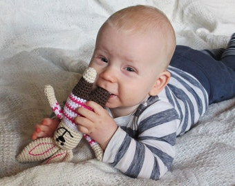 Bunny rattle amigurumi baby toy - soft toy bunny with chocolate brown pants and pink striped shirt - organic baby toy - baby gift