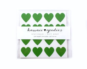 64 Kelly Green heart stickers  - 3/4 inch mini green heart Stickers - FREE SHIPPING