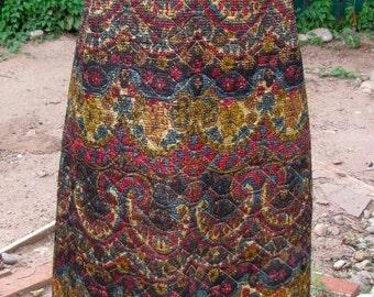 Vintage 70s - Quilt Paisley Maxi Skirt