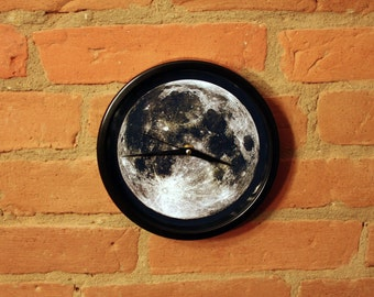 Moon Wall clock - grey and black color - unique wall clock - home decor
