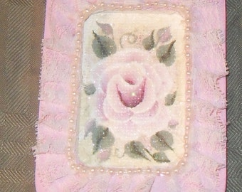 Victorian Chic Hand Painted Pink Rose Sparkle Wooden Lace Ornament
