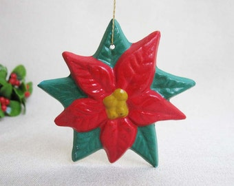 Vintage Christmas Ornament, Hand Painted Plaster of Paris Poinsettia, Christmas Holiday Ornament Decoration