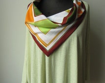 Neon Green Mod Print Cowlneck Tshirt, Upcycled Vintage Scarf, Womens Oversized Striped T Shirt, Altered Clothing, 1960s Scarf Top