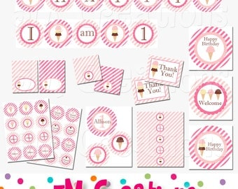 Ice Cream Parlor Party Package - Ice Cream Birthday Party Decorations - Ice Cream Party Printables - Banner - Cupcake Toppers