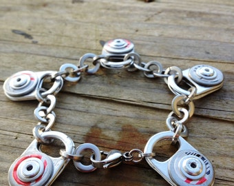 Eco Bracelet, Riveted Ring Pull Bracelet with Red detail, Silver and Red Metal Bracelet,  Recycled Drinks Can, Stainless Steel Washers