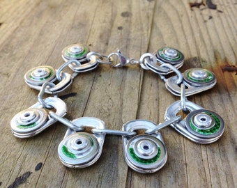 Charm Style Bracelet, Mixed Metal, Upcycled Pull Tab Bracelet with Green Recycled Can